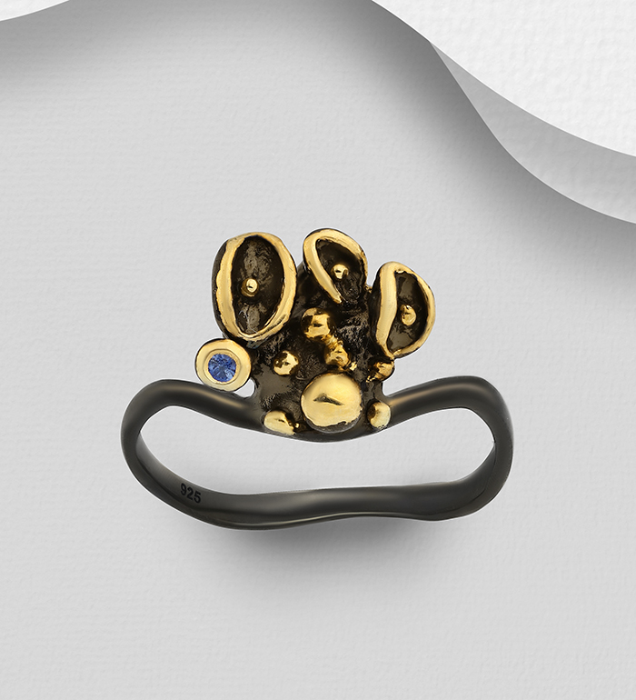 1916-22 - ADIORE JEWELS - 925 Sterling Silver Ring Decorated with Blue Sapphire, Plated with 3 Micron 22K Yellow Gold and Black Rhodium