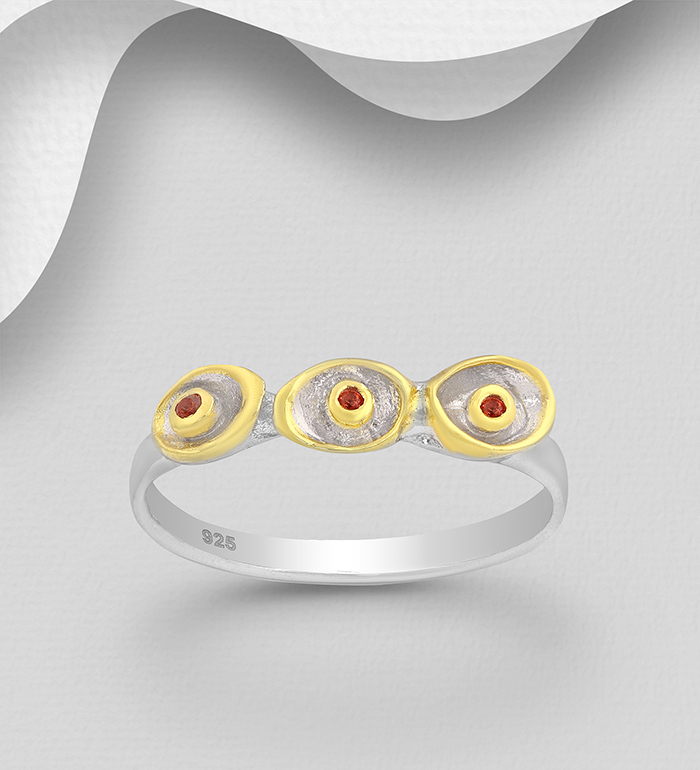 1916-27 - ADIORE JEWELS - 925 Sterling Silver Ring Decorated with Orange Sapphires and Yellow Sapphires, Plated with 3 Micron 22K Yellow Gold and Grey Ruthenium