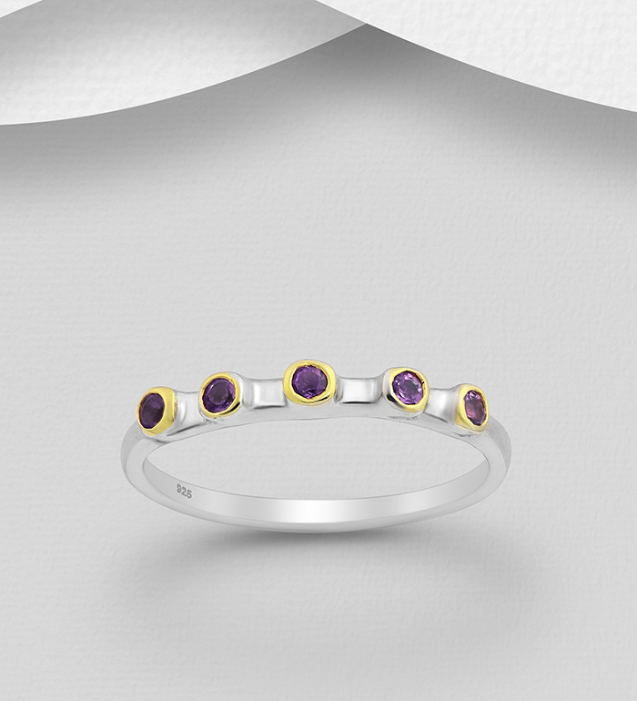 1916-30 - ADIORE JEWELS - 925 Sterling Silver Ring Decorated with Amethysts, Plated with 3 Micron 22K Yellow and White Rhodium
