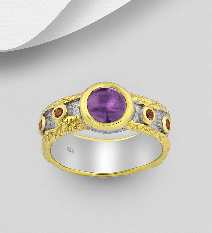 1916-61 - ADIORE JEWELS - 925 Sterling Silver Ring Decorated with Orange Sapphires and Amethyst, Plated with 3 Micron 22K Yellow Gold and White Rhodium