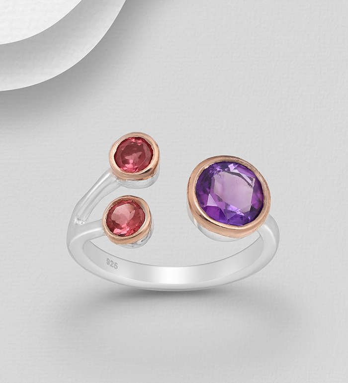 1916-63 - ADIORE JEWELS - 925 Sterling Silver Ring Decorated with Amethyst and Garnets, Plated with 3 Micron 22K Pink Gold and White Rhodium