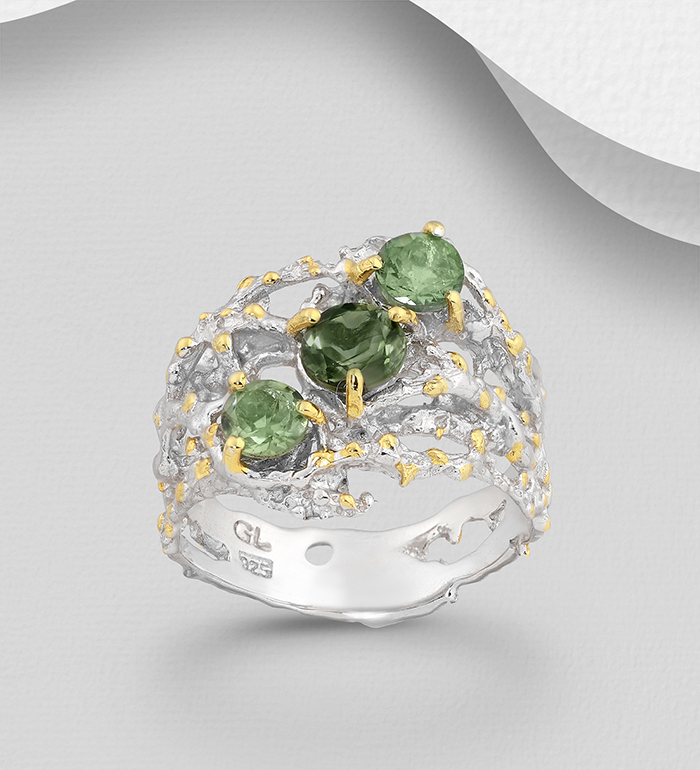 1916-67 - ADIORE JEWELS - 925 Sterling Silver Ring Decorated with Green Tourmaline, Plated with 3 Micron 22K Yellow Gold and White Rhodium