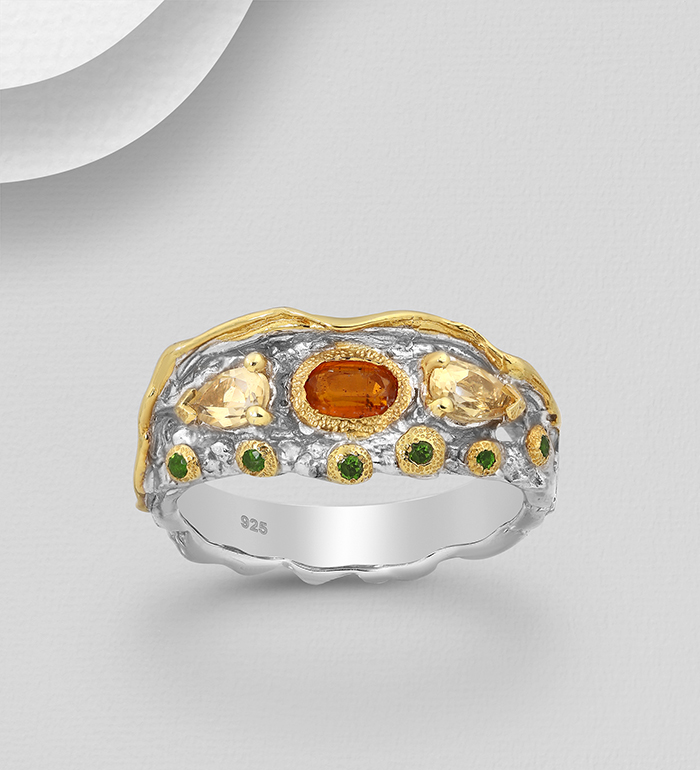 1916-69 - ADIORE JEWELS - 925 Sterling Silver Ring Decorated with Chrome Diopsides, Citrines and Orange Kyanite, Plated with 3 Micron 22K Yellow Gold and White Rhodium