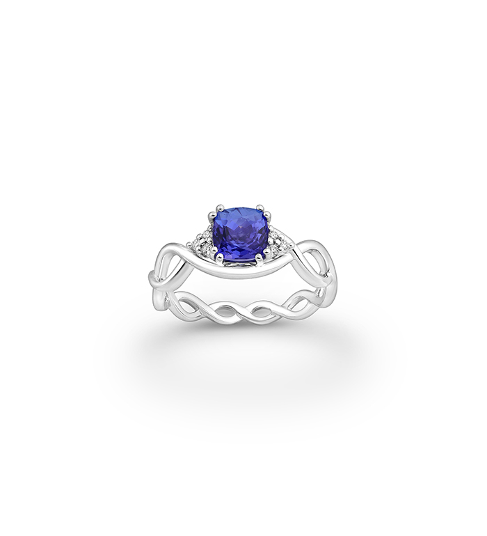 33-0065 - Infinity Engagement Ring in 18K White Gold, Decorated with Tanzanite and Diamonds