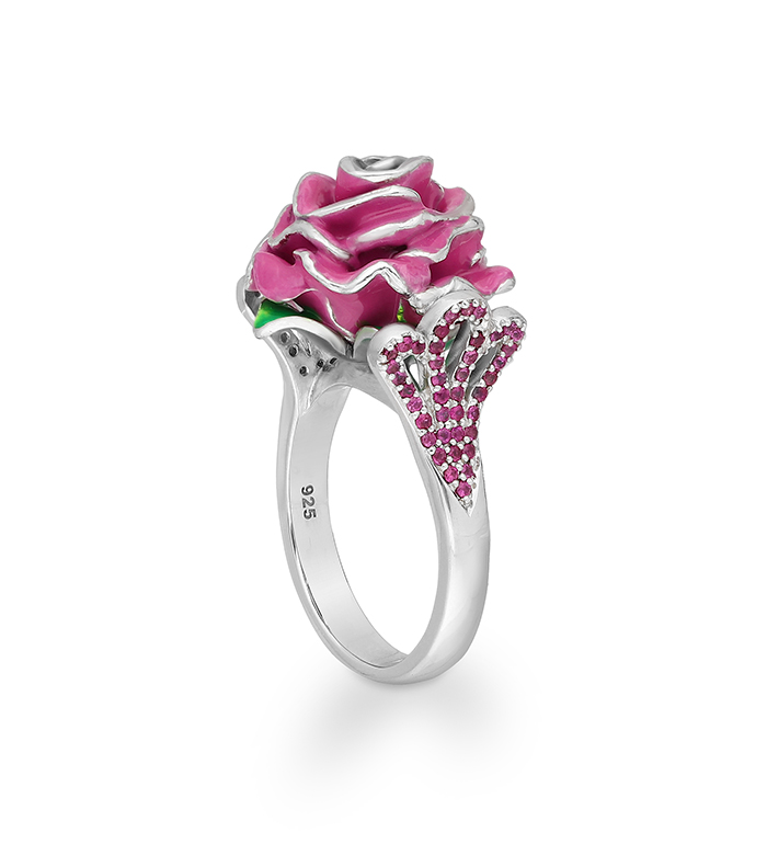 33-0067 - Artistically Hand Painted Rose Ring in Sterling Silver