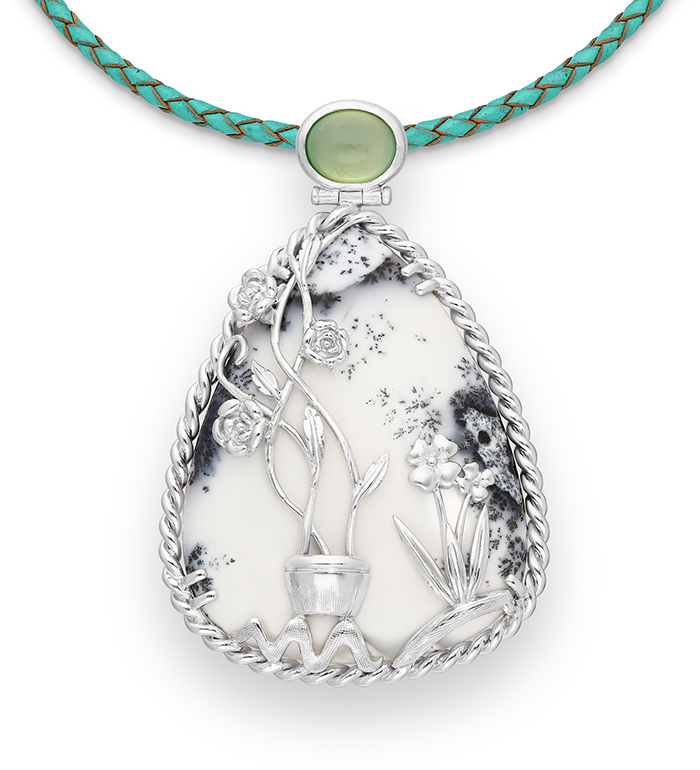 33-0016 - Magnificent Intricate Handmade Flowers over Dendritic Agate Necklace Framed in Sterling Silver