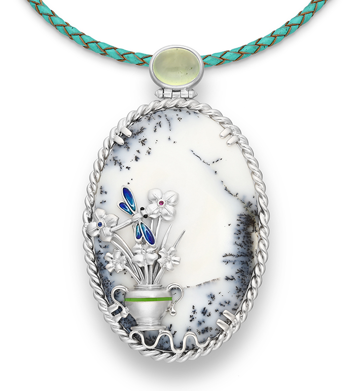 33-0017 - Gorgeous Handmade Vase over Dendritic Agate Necklace Framed in Sterling Silver