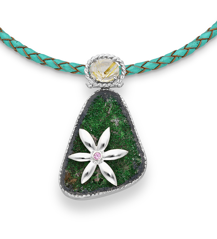 33-0022 - Beautifully Handmade Flower over Druzy Necklace Framed in Sterling Silver
