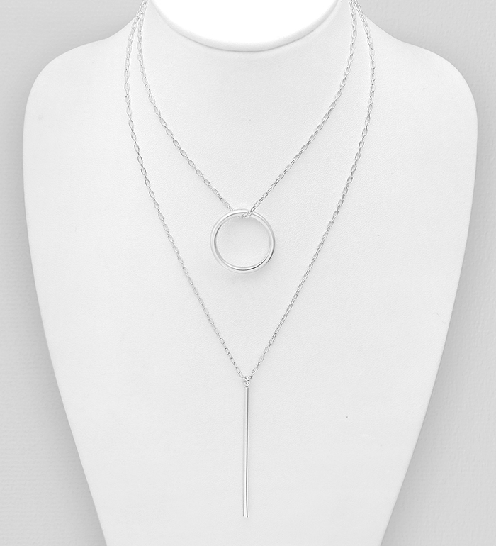 706-31249 - 925 Sterling Silver Bar And Circle Layered Necklace