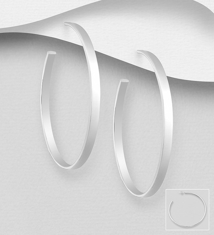 706-31258 - 925 Sterling Silver Hoop Push-Back Earrings