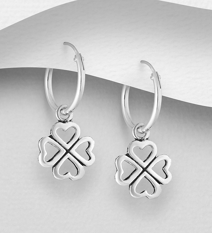 1076-299 - 925 Sterling Silver Oxidized Hoop Earrings with Clover Charm CZ Simulated Diamonds