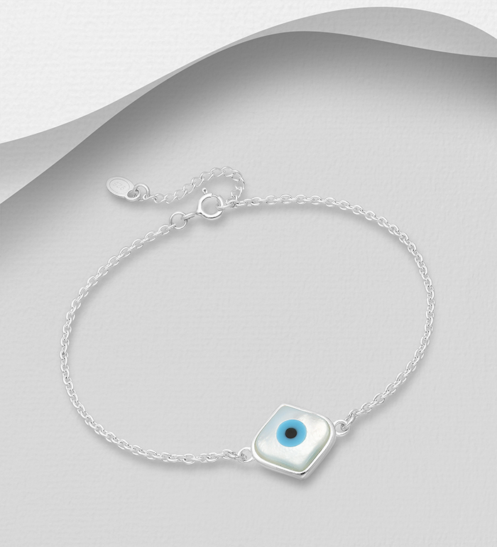 789-3974 - 925 Sterling Silver Evil Eye Bracelet Decorated With Shell