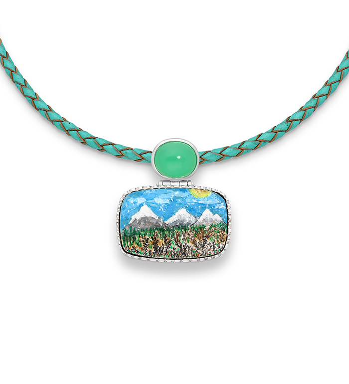 33-0028 - Artistically Hand Painted Mountain over Fossil Necklace Framed in Sterling Silver