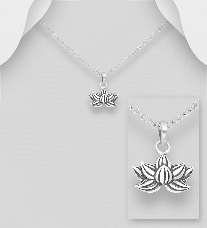 1063-2737 - 925 Sterling Silver Oxidized Lotus Pendant