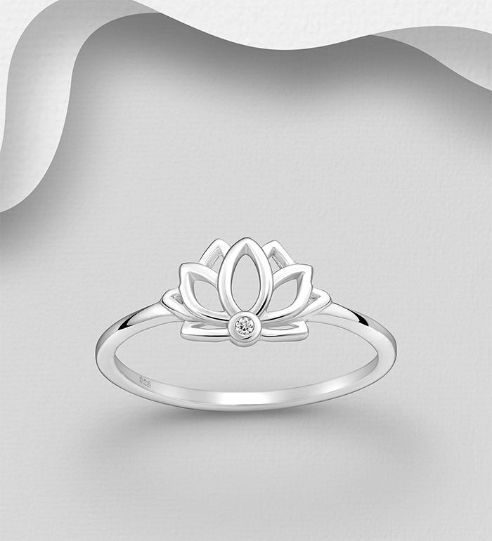 1063-2739 - 925 Sterling Silver Lotus Ring, Decorated with CZ Simulated Diamonds
