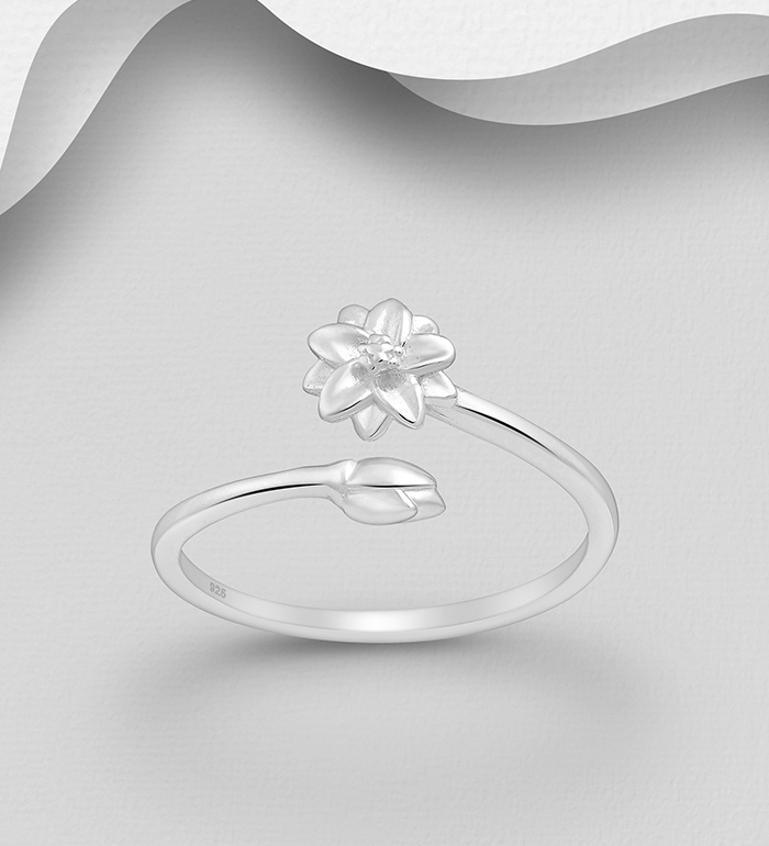 1063-2740 - 925 Sterling Silver Lotus Open Ring