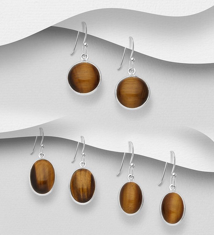 1851-413 - JEWELLED - 925 Sterling Silver Hook Earrings Decorated with Tigers Eye. Handmade, Shape and Size Will Vary