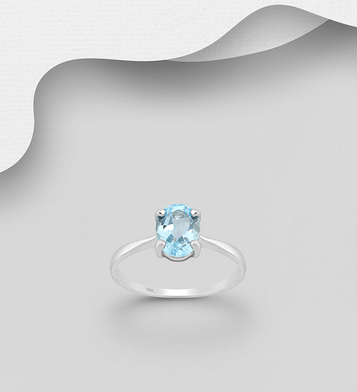 1181-3718 - La Preciada - 925 Sterling Silver Solitaire Ring Decorated with Sky-Blue Topaz