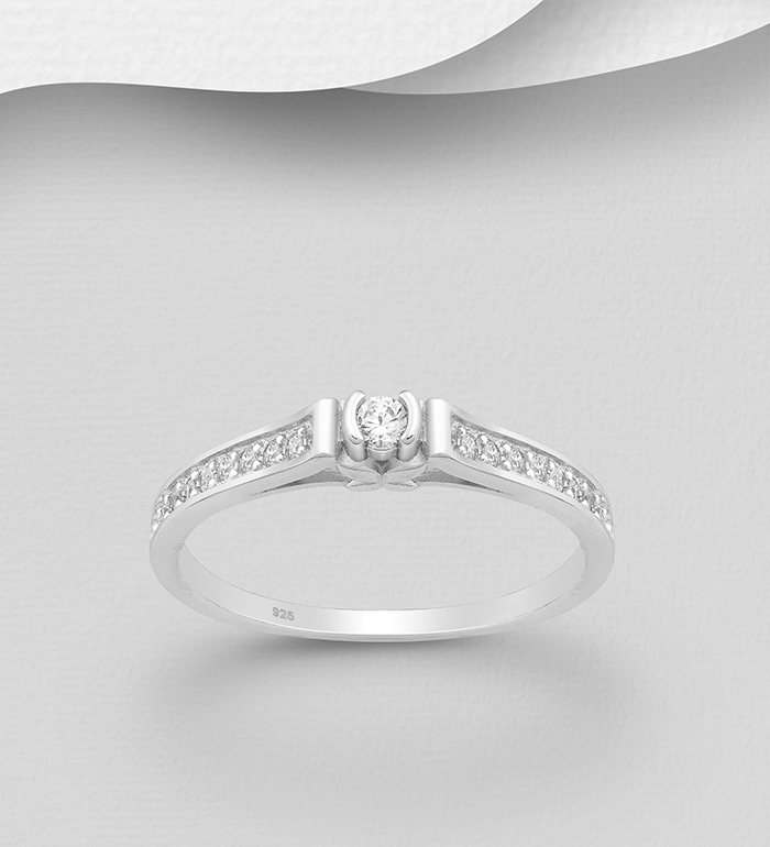 701-24142 - 925 Sterling Silver Ring Decorated with CZ Simulated Diamonds