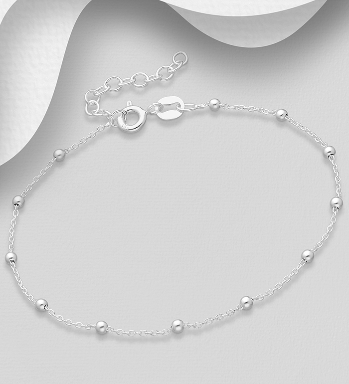 706-30150A - ITALIAN DELIGHT - 925 Sterling Silver Ball Bracelet, Made in Italy.