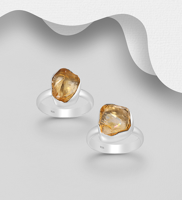 1851-419 - JEWELLED - 925 Sterling Silver Ring Decorated with Citrine. Handmade. Design, Shape and Size Will Vary.