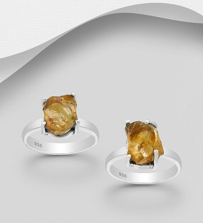 1851-420 - JEWELLED - 925 Sterling Silver Ring Decorated with Citrine. Handmade. Design, Shape and Size Will Vary.
