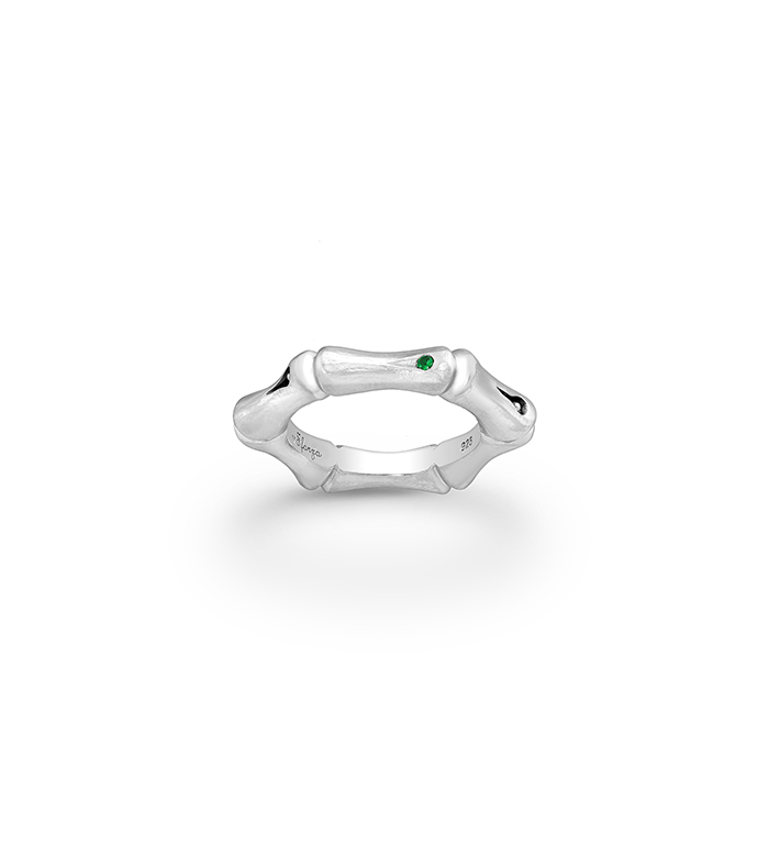 33-0078 - Italian Craftmanship - Bamboo Band Ring in Sterling Silver, Decorated with Tsavorite, Plated with Rhodium