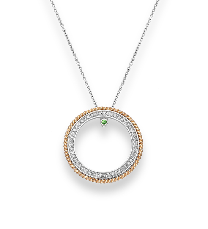 33-0029 - Circle of Life Necklace in 18K White and Rose Gold, Decorated with Tsavorite and Diamonds.