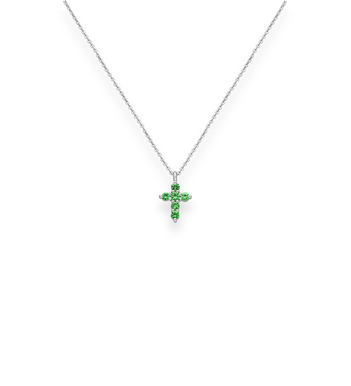 33-0031 - Cross Necklace in 18K White Gold, Decorated with Tsavorite.