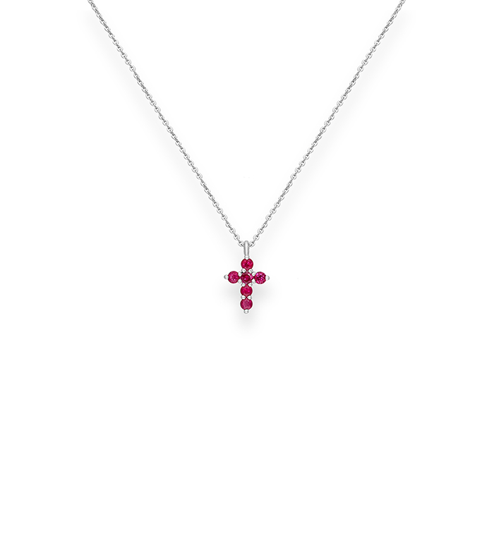 33-0032 - Cross Necklace in 18K White Gold, Decorated with Ruby.
