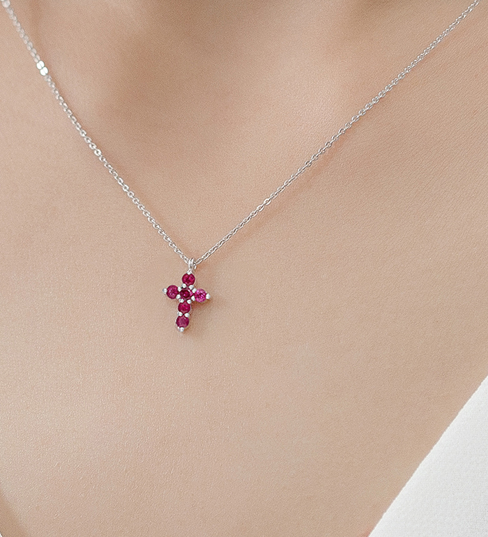 33-0033 - Baby Cross Necklace in 18K White Gold, Decorated with Ruby.