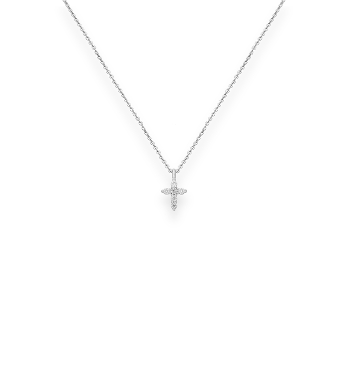 33-0034 - Baby Cross Necklace in 18K White Gold, Decorated with Diamonds.
