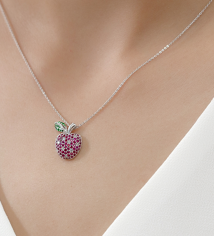 33-0039 - Apple Necklace in 18K White Gold, Decorated with Ruby, Diamonds and Tsavorite.
