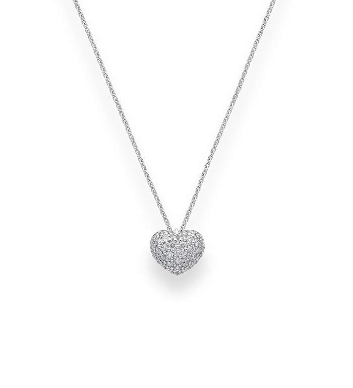 33-0037 - Heart Necklace in 18K Yellow Gold, Decorated with Diamonds.