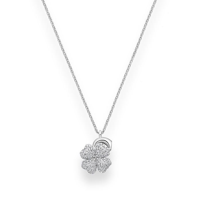 33-0041 - Four-Leaf Clover Necklace in 18K White Gold, Decorated with Diamonds.
