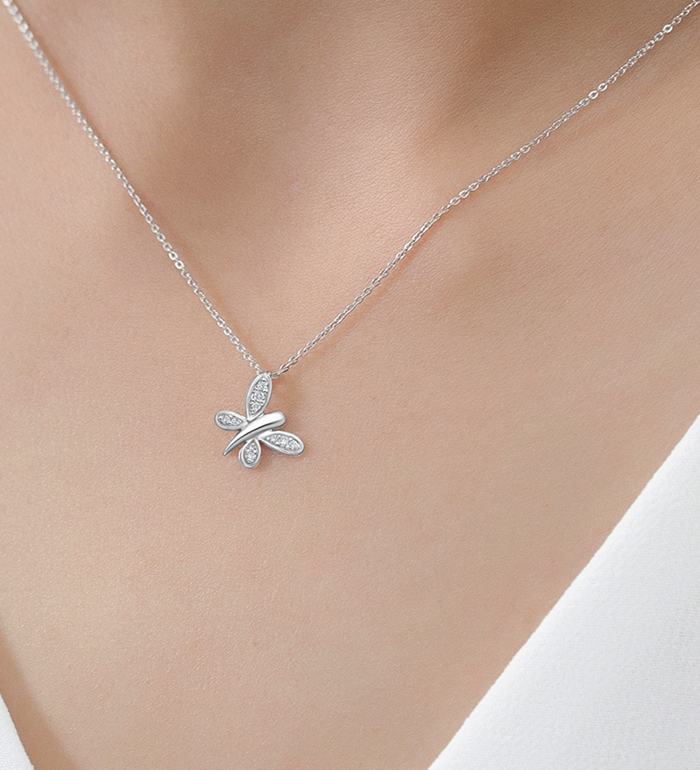 33-0042 - Butterfly Necklace in 18K White Gold, Decorated with Diamonds.