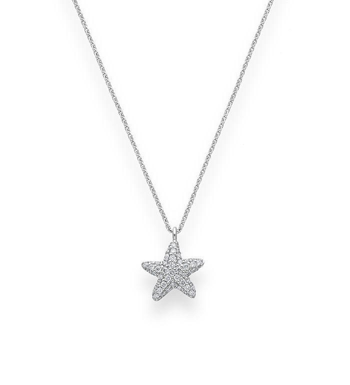 33-0043 - Starfish Necklace in 18K White Gold, Decorated with Diamonds.