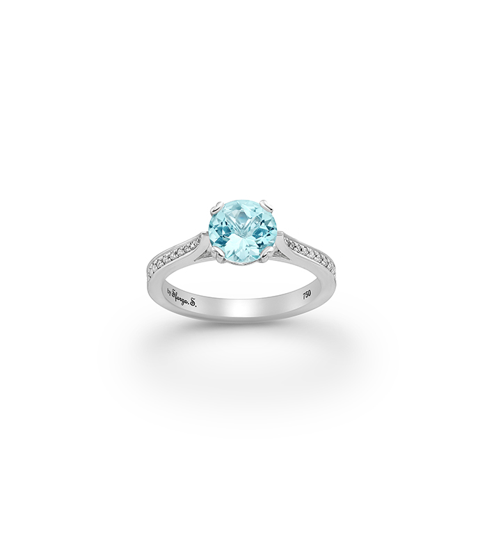 33-0079 - Engagement Ring in 18K White Gold, Decorated with Aquamarine and Diamonds.