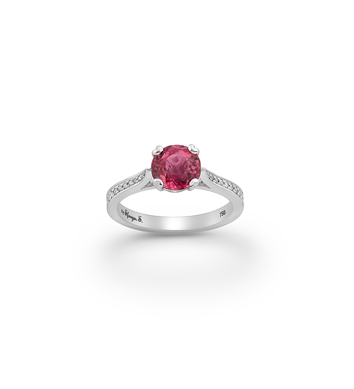 33-0080 - Engagement Ring in 18K White Gold, Decorated with Rose Tourmaline and Diamonds.