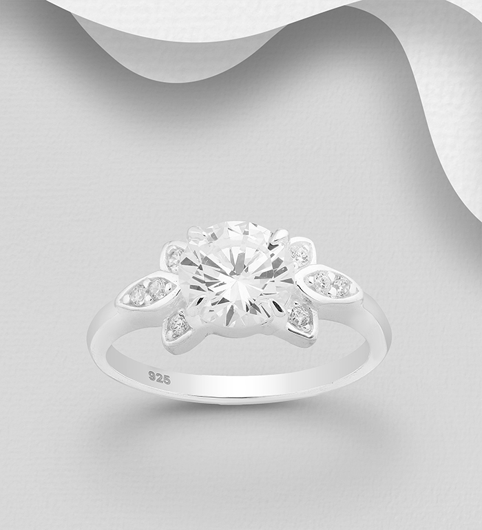 701-24183 - 925 Sterling Silver Ring, Decorated with CZ Simulated Diamonds