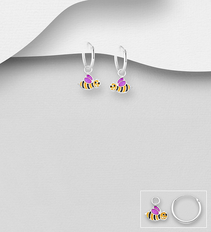 1068-1759 - 925 Sterling Silver Hoop with Bee Charm Earrings, Decorated with Colored Enamel