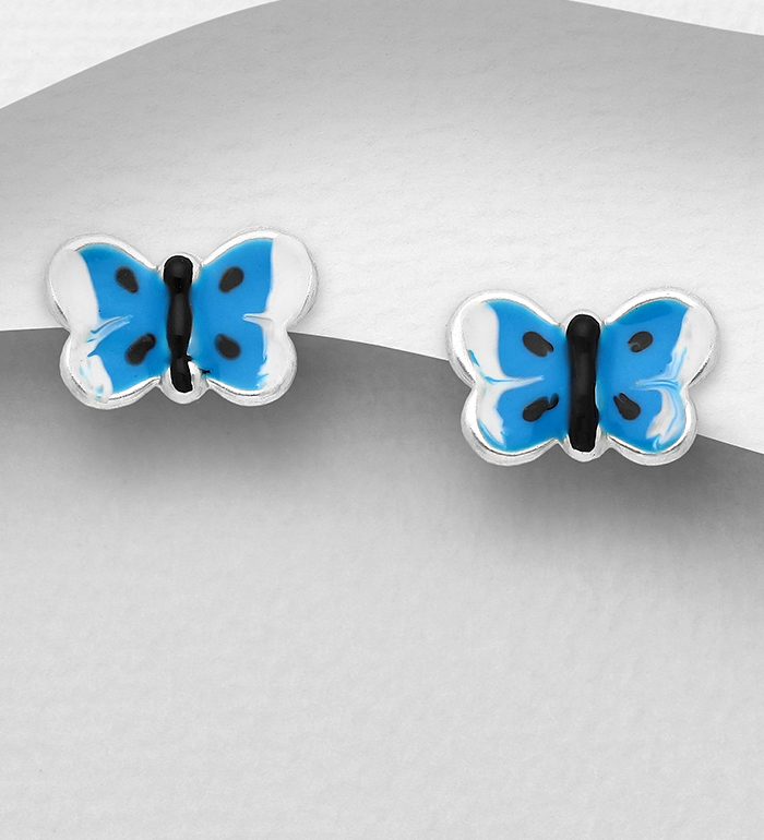 1068-1760 - 925 Sterling Silver Butterfly Push-Back Earrings, Decorated with Colored Enamel