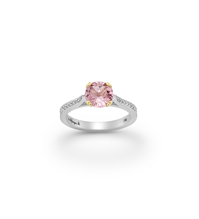 33-0087 - Two Tone Engagement Ring in 18K White and Yellow Gold, Decorated with Morganite and Diamonds.