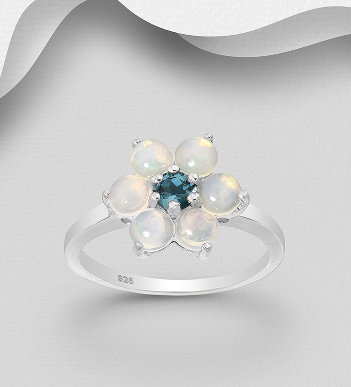 1181-3748 - La Preciada - 925 Sterling Silver Flower Ring, Decorated with London Blue Topaz and Ethiopian Opals