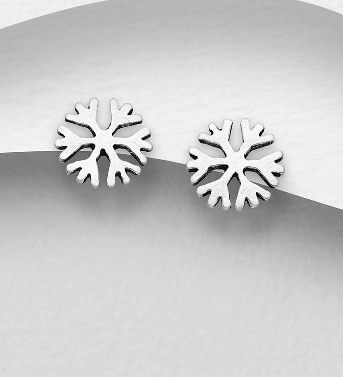 706-31418 - 925 Sterling Silver Oxidized Snowflake Push-Back Earrings
