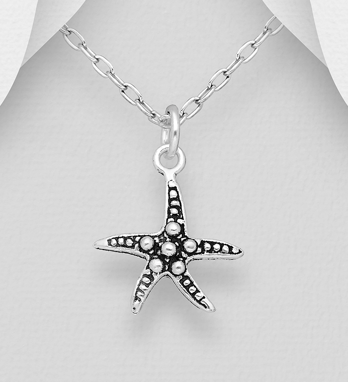 706-31431 - 925 Sterling Silver Oxidized Starfish Pendant