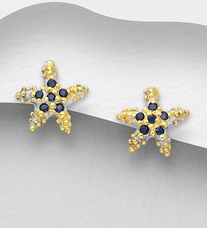 1916-112 - ADIORE JEWELS - 925 Sterling Silver Starfish Ring, Decorated Blue Sapphire plated with 3 Micron 22K Yellow Gold and White Rhodium