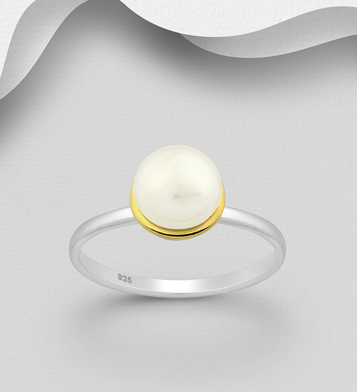 1916-113 - ADIORE JEWELS - 925 Sterling Silver Ring, Decorated with Freshwater Pearl, Plated with 3 Micron 22K Yellow Gold and White Rhodium