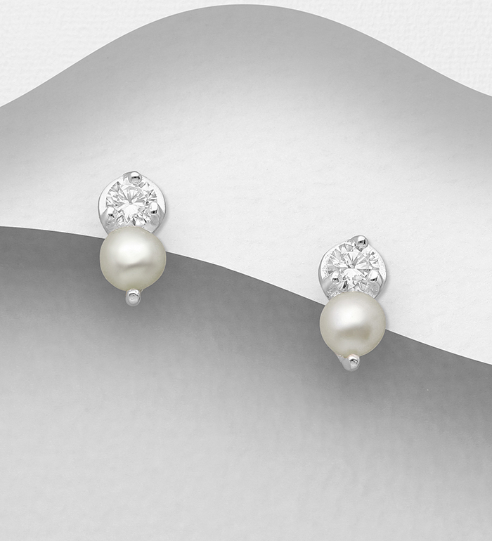 1063-2777 - 925 Sterling Silver Push-Back Earrings, Decorated with CZ Simulated Diamonds and Freshwater Pearls