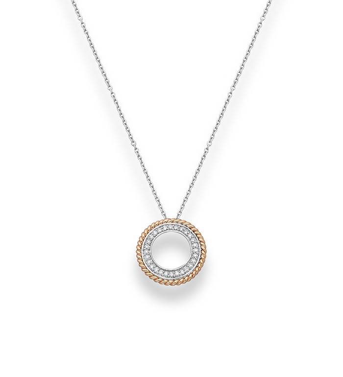 33-0035 - Mini Two Tone Circle of Life Necklace in 18K White and Rose Gold, Decorated with Diamonds.